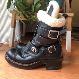 Coach Zip Moto Boots w/ shearling